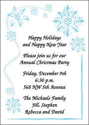 invites for Christmas snowflakes party theme