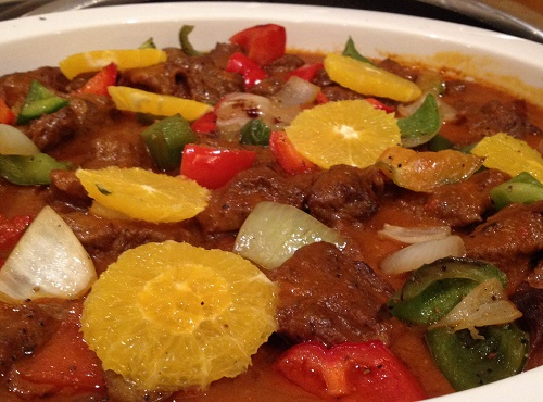 beef stew with white wine and orange